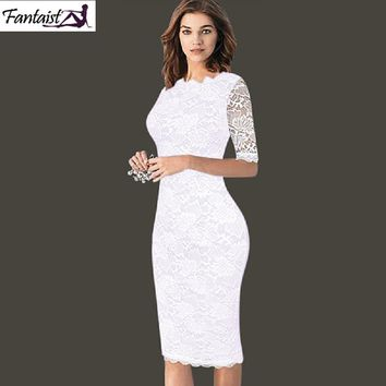 Fantaist Summer Women Vintage Sexy Casual Formal Wedding Party Sheath Fitted White Lace Half Sleeve Print Knee-Lengh Dress