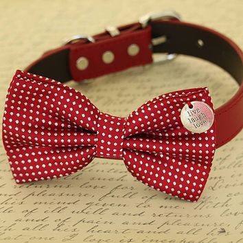 Red Dog Bow Tie collar, Polka dots, Charm Live Laugh Love, Birthday gift, Christmas
