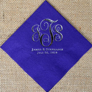 Script Monogram Napkins with Names and Date