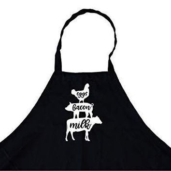 Eggs Bacon Milk Chicken Cow Pig Chef's Funny Cooking Apron Kitchen, BBQ Grill, Breathable, Machine Washable…