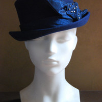 navy blue wool felt bowler hat for women with silver embellishment