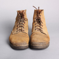 40s MEN'S WWII Rough Out BOOTS / Military Boondockers