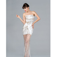 2013 Prom Dresses - Off White & Gold Sequin Strapless High-Low Prom Dress - Unique Vintage - Prom dresses, retro dresses, retro swimsuits.