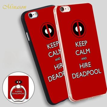 Minason keep calm and hire deadpool Mobile Phone Shell Soft TPU Silicone Case Cover for iPhone X 8 5 SE 5S 6 6S 7 Plus