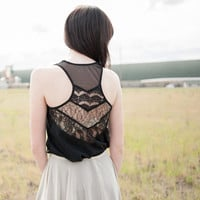 Black Lace Tunic - bohemian festival style, geometric chevron pattern shirt - small murmuration
