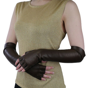Elbow Length Italian Leather Gloves. Half Fingers, Dark Brown, Silk Lined, 12-BT