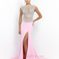Blush Embellished Illusion Neckline Prom Dress 9903