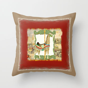Vintage Style Circus Poster, Giraffe Baby Nursery Decor Wall Art Throw Pillow by Audrey Jeannes
