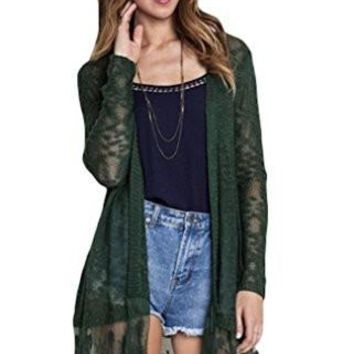 Umgee USA Women's Lightweight Lace Trimmed Open Cardigan Sweater