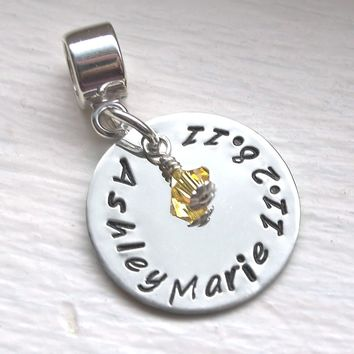 Personalized Charm Bead for Mom or Grandma, Child's Name and Birthstone