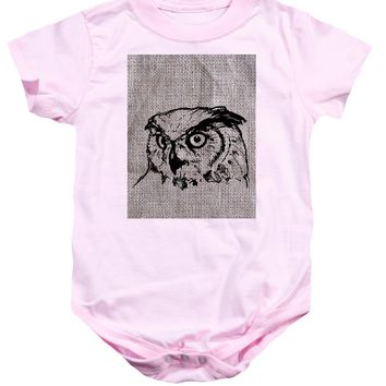 Owl On Burlap - Baby Onesuit