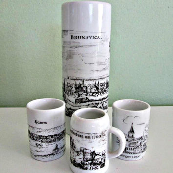 SALE! Vintage Royal Bavaria Porcelain KPM Germany Handmade 4 Piece Set, Royal Porzellan Bavaria, German Porcelain BRUNSVICA