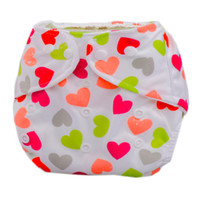 Summer Grid Baby Cloth Diaper Cover Adjustable Size Loving Heart Pattern