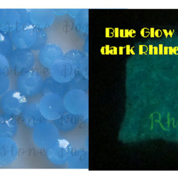 Blue Glow In The Dark Rhinestones, ss16, 4mm, Flat Back, DIY projects