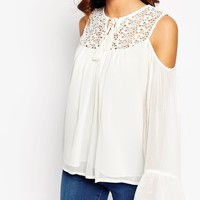 ASOS Cold Shoulder Lace Insert Top