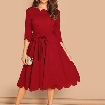 Scallop Trim Tie Waist Skater Dress