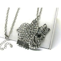 Jewelry Crystal stud burnish metal king of elephant pendant long necklace