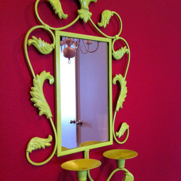 Upcycled Vintage Mirror in Lime, Funky Home Decor, Hollywood Regency, The Frog and the Prince