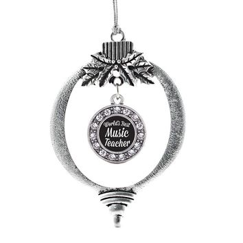 World's Best Music Teacher Circle Charm Holiday Ornament