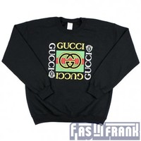 Gucci Black Crewneck Sweatshirt Sz S-XL | F as in Frank Vintage Clothing