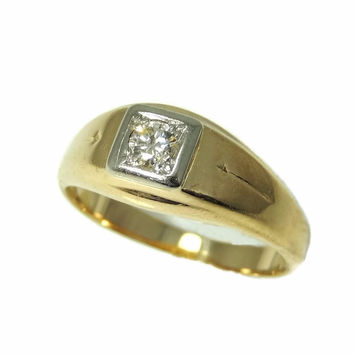 Estate 14k Gold Men's Diamond Ring Sz 12