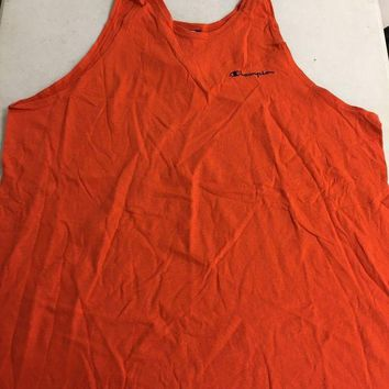 DCCKIHN BRAND NEW RETRO CHAMPION ORANGE V-NECK TANK TOP RETRO GYM SHIRT SHIPPING