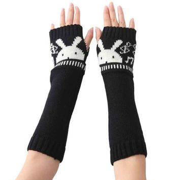 2016 New Fashion Knitted Female Spirng Winter Gloves For Women Rabbit Pattern Fingerless Elbow Mittens Women's Gloves Gants