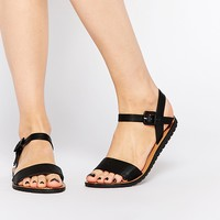 Daisy Street Black Flat Sandals