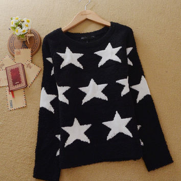 Black Star Print Long Sleeve Sweatshirt