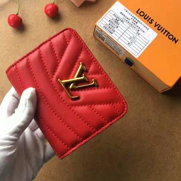 LV High Quality Newest Fashionable Women Leather Metal Zipper Wallet Purse Red