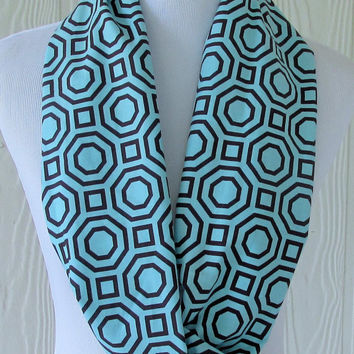 Blue Geometric Infinity Scarf, Long Infinity Scarf, Circle Scarf, Loop Scarf, Tube Scarf , Women's Scarves, Eclectasie