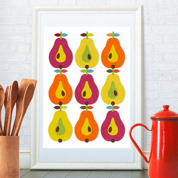 Kitchen art print, Scandinavian retro poster, Mid century modern wall art, Pear pattern home decor