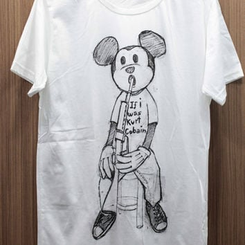 KURT COBAIN - Mickey Mouse  T Shirts handmade drawing & screen