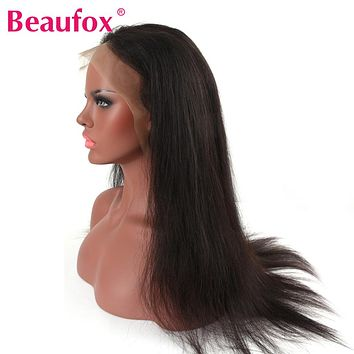 Beaufox Lace Front Human Hair Wigs For Black Women Lace Wig Brazilian Remy Straight Wig With Baby Hairs