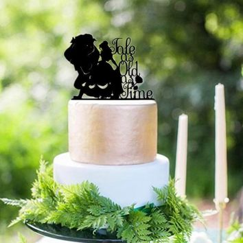 Beauty and Her Beast Tale as Old as Time on Side Wedding Cake Topper Engagement Cake Decoration