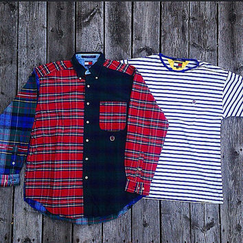2 Vintage 90's Tommy Hilfiger Shirts longsleeve t-shirt Medium multicolored stripes