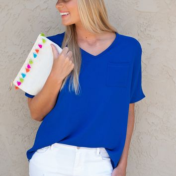 Walking With You V Neck Top : Royal Blue