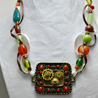 Steam punk necklace, watch gears pendant, green and orange bead and ribbon necklace, ships free
