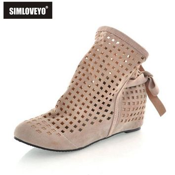 SIMLOVEYO Women summer boots Cut out Ankle boots Cute Flock Hidden heel Wedges Lace up
