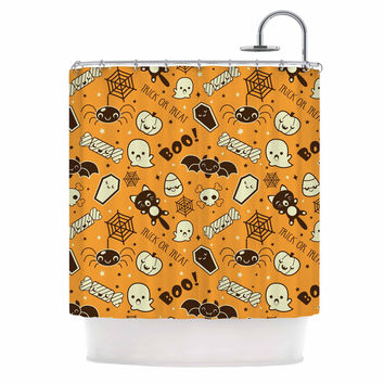 "KESS Original ""All Cute Halloween"" Orange Pattern Shower Curtain"