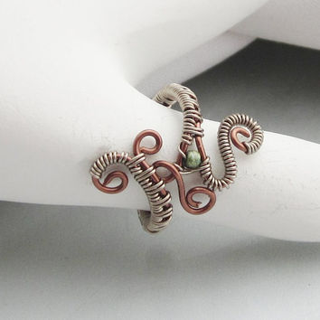 Midi, PInky, Upper Knuckle or Toe Wire Wrapped Antique Colored Copper Adjustable Ring