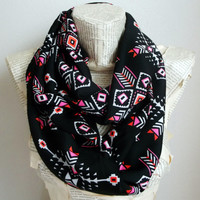 Neon Boho Scarf Colorful Tribal Chevron Geometric Infinity Scarf Circle Scarf Black Chiffon Scarves Spring - Fall - Winter - Summer fashion