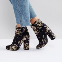Boohoo Embroidered Block Heel Ankle Boot at asos.com