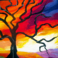 wet felted wall art  tree at sunset by SueForeyfibreart on Etsy