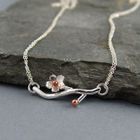 Cherry Blossom Branch Pendant Sakura Ready to ship by Hapagirls