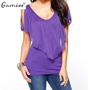 CREYHY3 Gamiss New Arrival 2016 Summer Style Women Casual Chiffon Blouse Sexy Deep V Neck Shirts Ladies Fashion Plus Size Tops 4 Colors