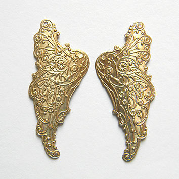 Raw Brass Wing Stamping Pendant 25mm x 55mm - 2 pcs (1 pair)