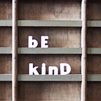 be kind / vintage push pins / ceramic letter