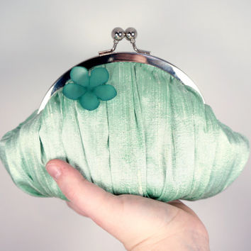 Mint green clutch, small green wristlet, silk clutch with flower button, personalized clutch, heart charm