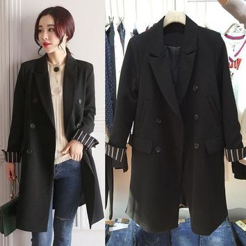 Casual Spring Black Suit Blazer Women Double Breasted Ladies Nine Sleeve Blazers 2017 Autumn Coat Jacket Office Outwear E962